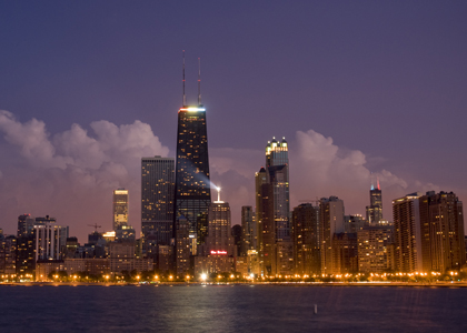 Chicagloland at night